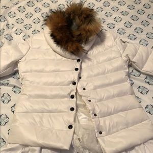Moncler white jacket with real fur